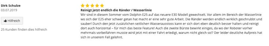 Dolphin E30 Kundenrezession